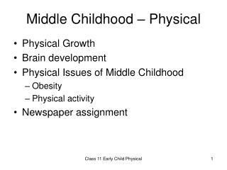 Middle Childhood – Physical