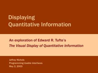 Displaying  Quantitative Information