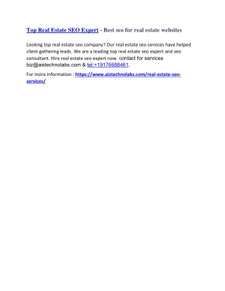 Real Estate SEO Services - Best seo for real estate websites