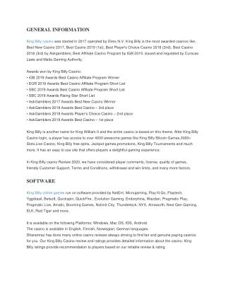 Online Casino Bonus code | King Billy Casino Review  | Dharamraz