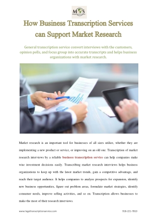 How Business Transcription Services can Support Market Research