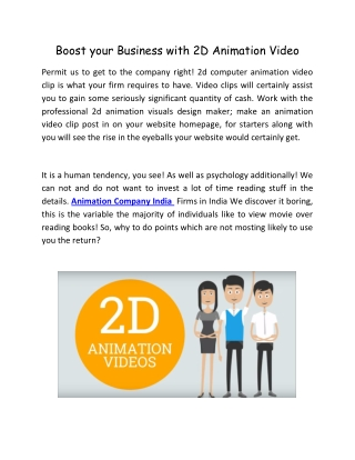 Boost your Business with 2D Animation Video