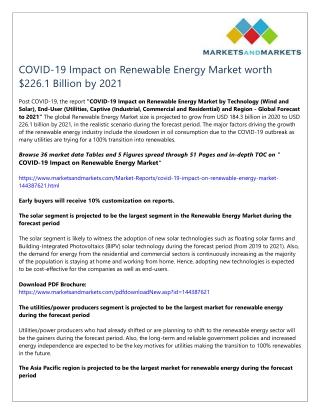 COVID-19 Impact on Renewable Energy Market worth $226.1 Billion by 2021