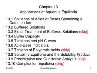 Chapter 13 Applications of Aqueous Equilibria