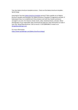 Top-class bakery brochure template services - Check out the bakery brochure template - Sprak Design