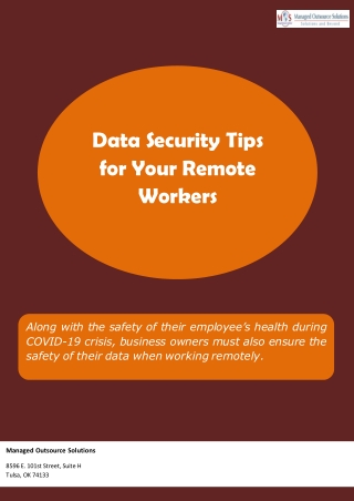 Data Security Tips for Your Remote Workers
