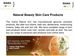 Natural Beauty Skin Care Products