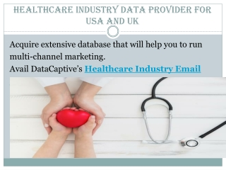 Healthcare Industry Data Provider For USA and UK