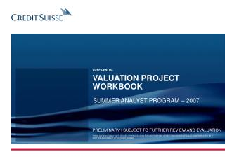 VALUATION PROJECT WORKBOOK