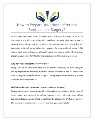 How to Prepare Your Home after Hip Replacement Surgery?