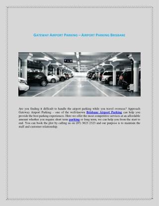 Gateway Airport Parking - Brisbane Airport Parking