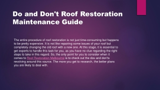 Do and Dont Roof Restoration Maintenance Guide