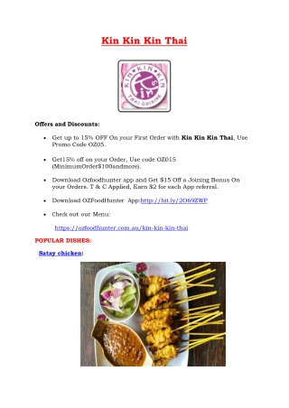 Kin Kin Kin Thai Restaurant Engadine Menu, NSW - 15% Off