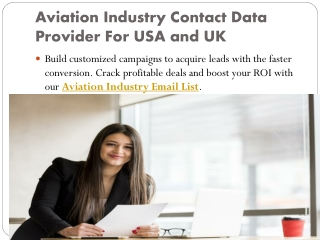 Aviation Industry Data Provider For USA and UK