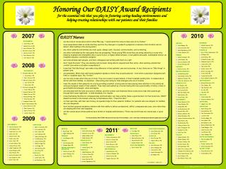 Honoring Our DAISY Award Recipients for the essential role that you play in fostering caring-healing environments and  h