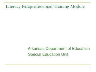 Literacy Paraprofessional Training Module