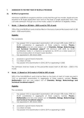 ADMISSION TO THE FIRST YEAR OF BE/BTech PROGRAM