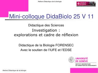 Mini-colloque DidaBiolo 25 V 11