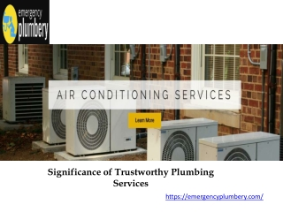 Significance of Trustworthy Plumbing Services