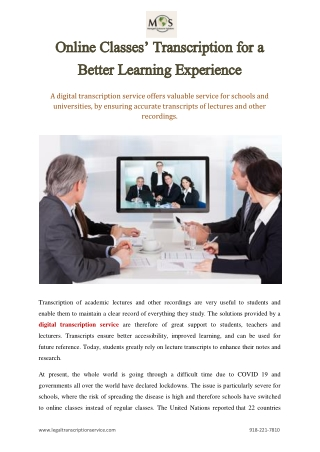 Online Classes' Transcription for a Better Learning Experience