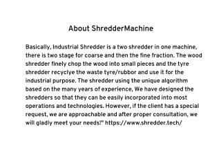 Industrial Shredder Smart Shredder Wood Shredder