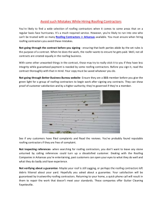 Avoid such Mistakes While Hiring Roofing Contractors