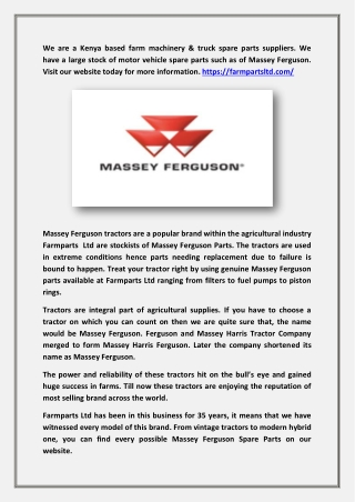 Massey Ferguson Parts - Farmparts Limited