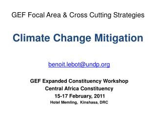 GEF Focal Area & Cross Cutting Strategies Climate Change Mitigation