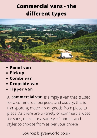 Commercial vans - the different types