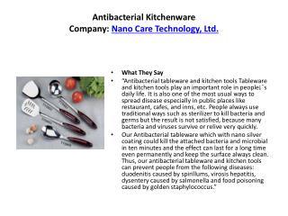 Antibacterial Kitchenware Company: Nano Care Technology, Ltd.