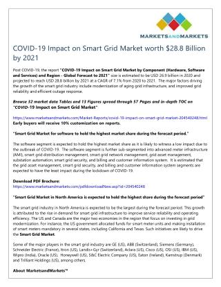 COVID-19 Impact on Smart Grid Market worth $28.8 Billion by 2021