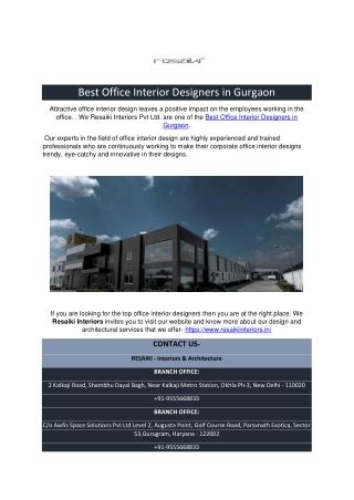 Best Office Interior Designers in Gurgaon