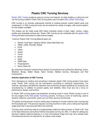 Plastic CNC Turning Services