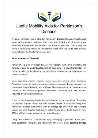 Useful Mobility Aids for Parkinson's Disease