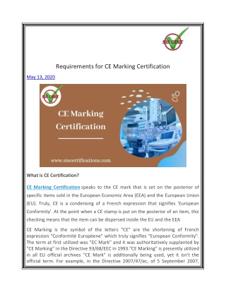 Requirements for CE Marking Certification