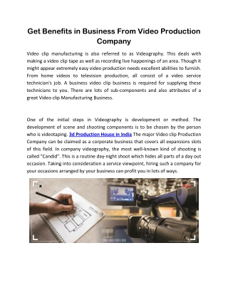 Get Benefits in Business From Video Production Company