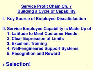 Service Profit Chain Ch. 7 Building a Cycle of Capability