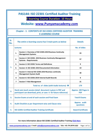 Learn Online Certified ISO 22301 Auditor Training Course by Punyam Academy