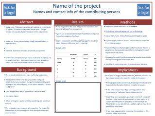 Name of the project Names and contact info of the contributing persons