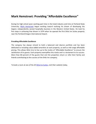 "Mark Hemstreet: Providing ""Affordable Excellence"""
