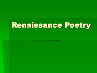Renaissance Poetry