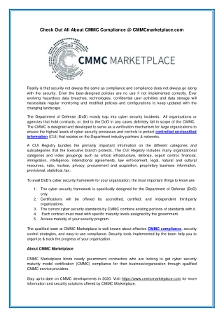 Check Out All About CMMC Compliance @ CMMCmarketplace.com