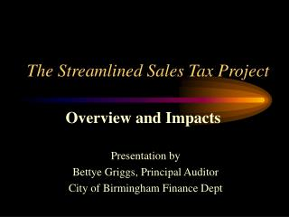 The Streamlined Sales Tax Project