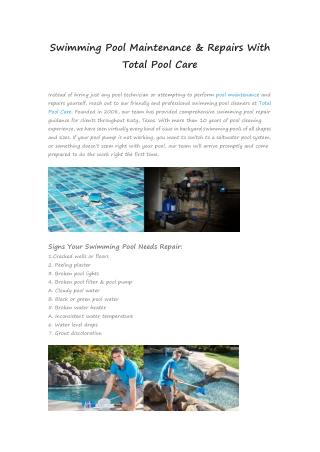 Swimming Pool Maintenance & Repairs With Total Pool Care