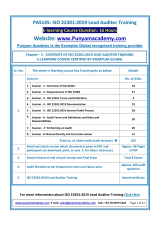 ISO 22301 Lead Auditor Training by Punyam Academy