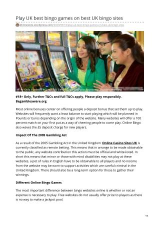 Play UK best bingo games on best UK bingo sites