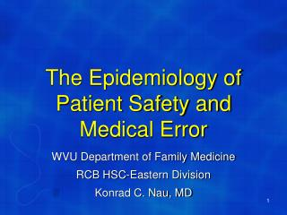 The Epidemiology of Patient Safety and Medical Error