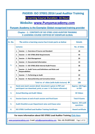ISO 37001 Lead Auditor Training by Punyam Academy