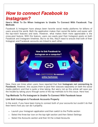 How to connect Facebook to Instagram?