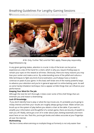 Breathing Guidelines For Lengthy Gaming Sessions